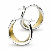 Coast Shore Small Gold Plate Sandblast Hoop Earrings